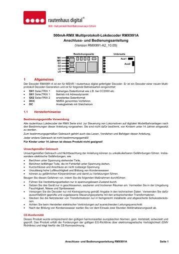 Anleitung RMX-Lokdecoder RMX991A - MDVR
