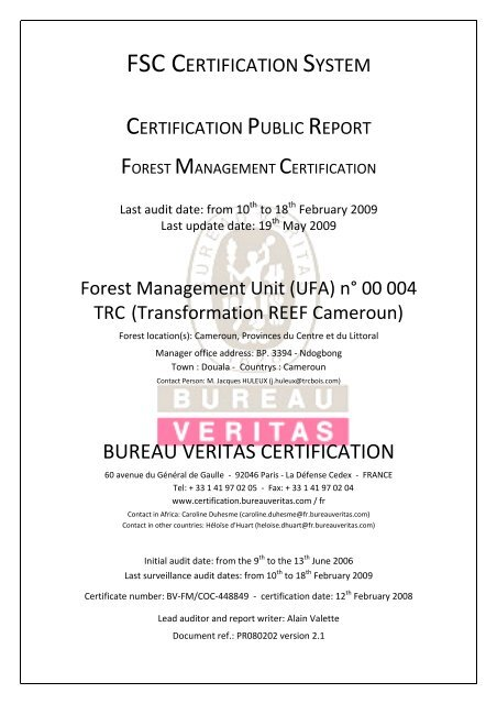 Pr080202 Fsc Fm Public Report Trc V22 03 06 09 Bureau Veritas