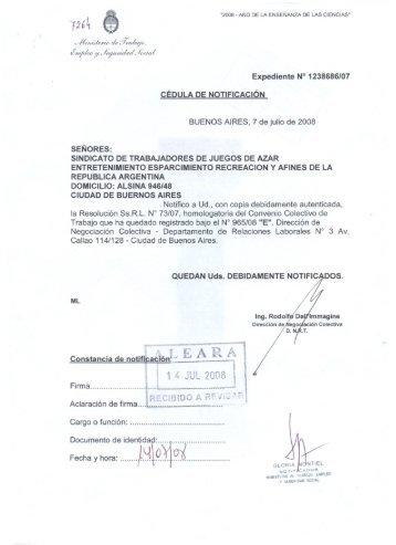 "Constancia de notifjcaci~""L E""A R-A 1 - ALEARA"