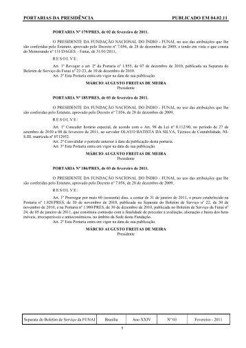 PORTARIAS DA PRESIDÊNCIA PUBLICADO EM 04.02.11 - Funai