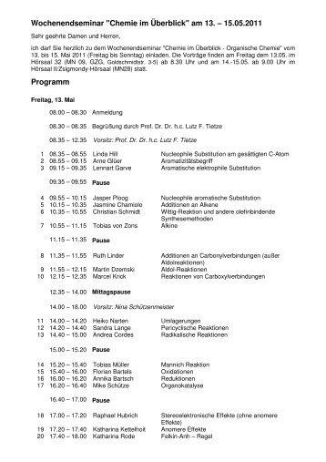 """Wochenendseminar """"Chemie im Überblick"""" am 13. – 15.05.2011 ..."""