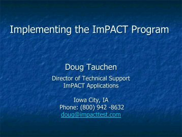 Implementing the ImPACT Program - ImPACT Test