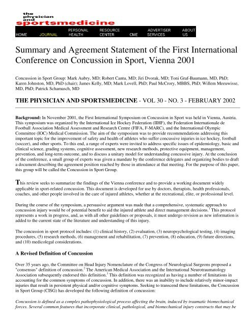 Summary and Agreement Statement of the First     - ImPACT Test