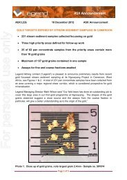 gold targets defined by stream sediment sampling ... - Legend Mining