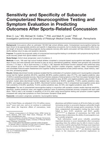 Sensitivity and Specificity of Subacute Computerized ... - ImPACT Test