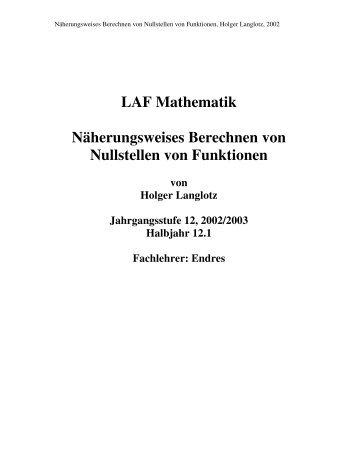 Näherungsweises Berechnen von Nullstellen - SNEAKER