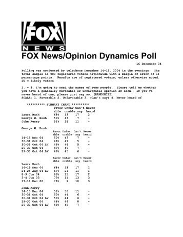 PDF: Click here for full poll results. - Fox News