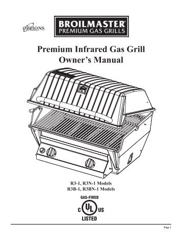 premium infrared gas grill owneru0027s manual broilmaster - Broilmaster