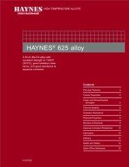 HAYNES ® 625 alloy Brochure - Haynes International, Inc.