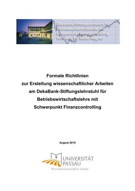 Formale Richtlinien für Abschluss - Universität Passau