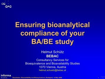 Ensuring bioanalytical compliance of your BA/BE study - BEBAC ...