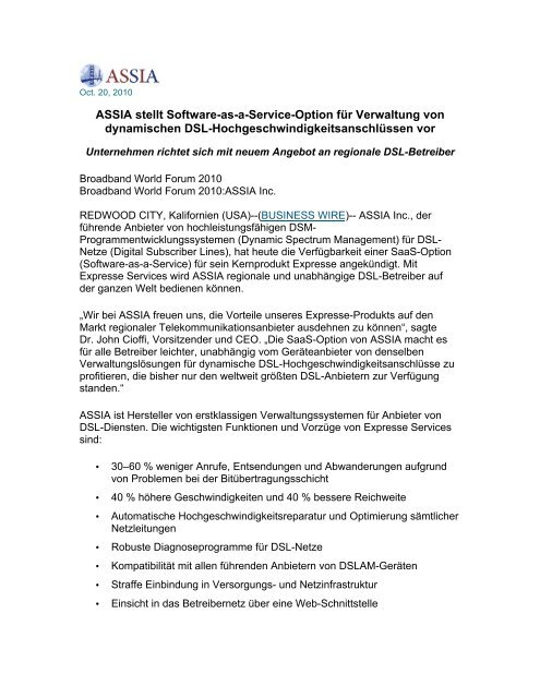 ASSIA stellt Software-as-a-Service-Option für ... - ASSIA Inc.