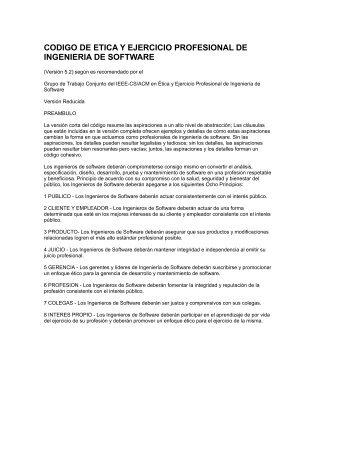 codigo de etica y ejercicio profesional de ingenieria de software