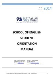 Student Handbook 2013 ELICOS - Australian Pacific College