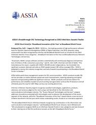 ASSIA's Breakthrough DSL Technology Recognized as ... - ASSIA Inc.