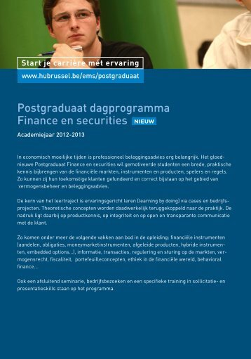 Postgraduaat dagprogramma Finance en ... - HUBRUSSEL.net