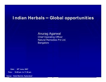 I ndian Herbals Global opportunities - pharmaceuticals export ...