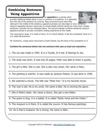 APPOSITIVE PRACTICE WORKSHEET  MrsTolin