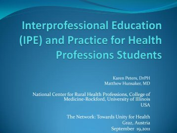 Interprofessional Education (IPE) - The network - Towards Unity For ...