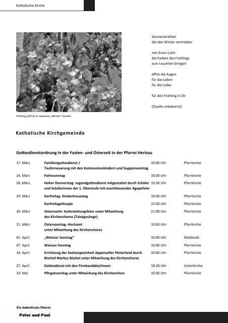 Märzheft 2013 Umschlag - Gemeinde Schwellbrunn
