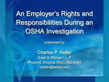An Employer's Rights and Responsibilities During ... - Snell & Wilmer
