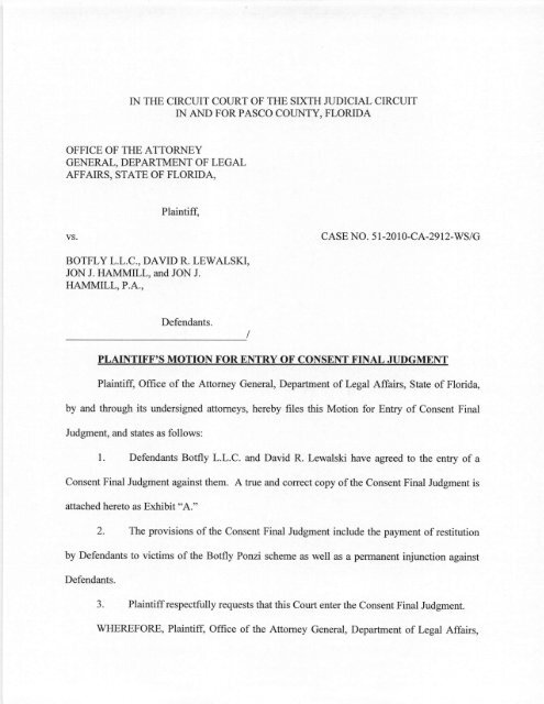 11 18 11 Plaintiff S Motion For Entry Of Consent Final Judgment