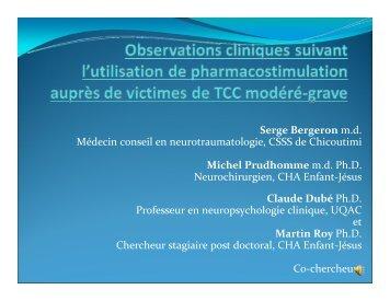 Observations cliniques suite à l'utilisation de la ... - Trauma Québec