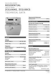 ZCG100AS, ZCG100CS Technical Data - Universal meter services