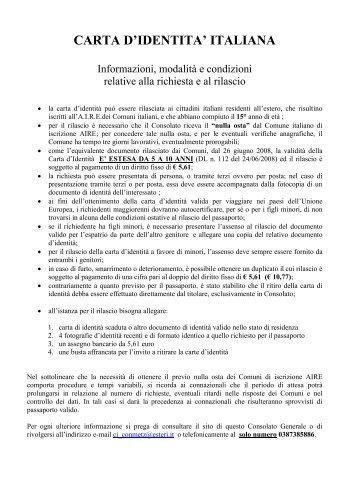 CARTA D'IDENTITA' ITALIANA - Consolato generale d'Italia a Metz