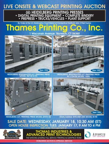 Live onsite & webcast printing auction - Thomas Industries