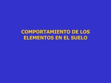COMPORTAMIENTO DE LOS ELEMENTOS EN EL SUELO