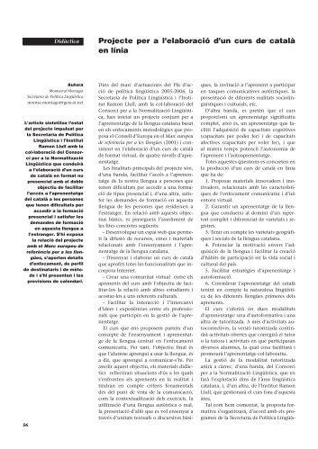 Projecte per a l'elaboració d'un curs de català en línia