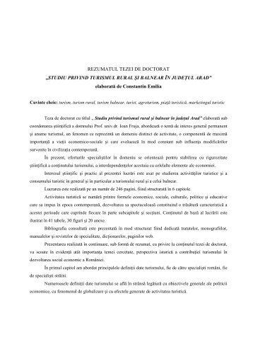 STUDIU PRIVIND TURISMUL RURAL ŞI BALNEAR ÎN JUDEłUL ...