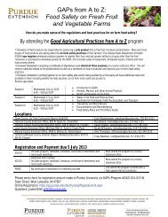 Food Safety on Fresh Fruit and Vegetable Farms - Purdue University