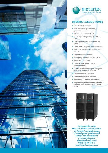 MILLI 3/3 UPS Datasheet - Metartec