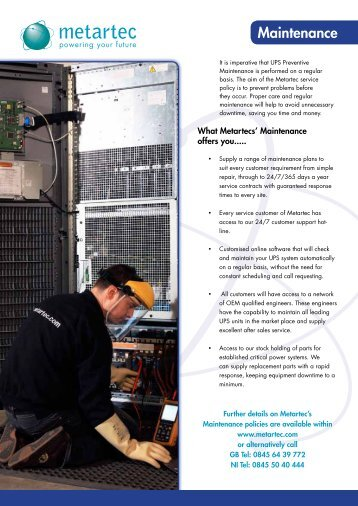 Metartec's UPS Maintenance Service Datasheet Metartec provides ...