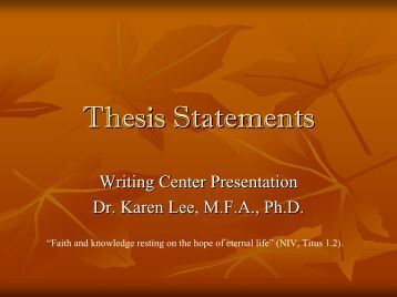 Teach thesis statements