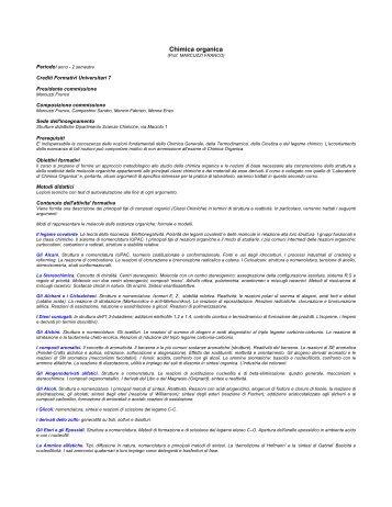 Chimica organica - Dipartimento di Scienze Chimiche