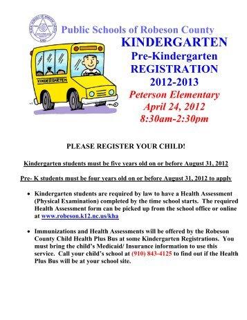 KINDERGARTEN - Public Schools of Robeson County