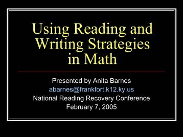 Reading and Writing Strategies for Math