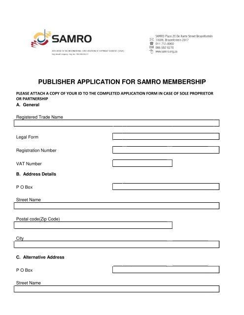PUBLISHER APPLICATION FOR SAMRO MEMBERSHIP