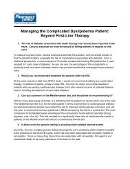 Managing the Complicated Dyslipidemia Patient ... - Pharmacy Times