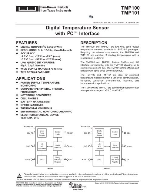 Texas TMP100NA Digital Temperature Sensor with I2C Interface SMD IC SOT-23-6