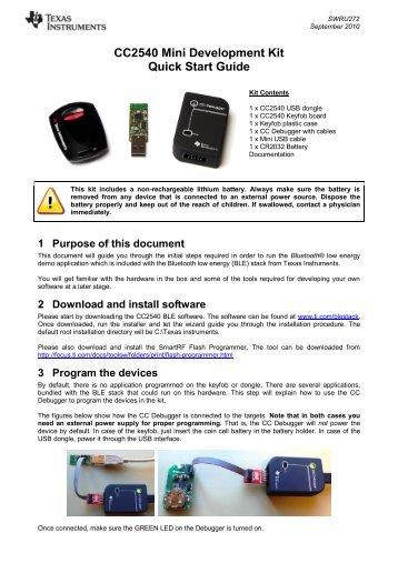 CC2540DK MINI Development Kit Quick Start ... - Texas Instruments