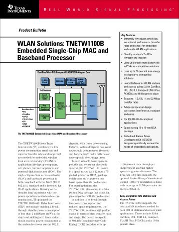 Wireless Lan Product bulletin for TNETW1100B ... - Texas Instruments