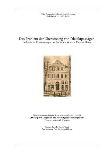 Das Problem der Ãœbersetzung von Dialektpassagen. - Thomas Mann