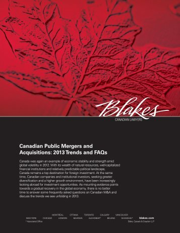Canadian Public Mergers and Acquisitions: 2013 Trends and FAQs