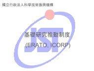 基礎研究推動制度(ERATO, ICORP)