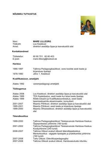 Mare Lilleorg - Riiklik Eksami ja Kvalifikatsioonikeskus
