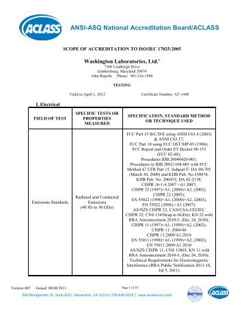 SCOPE OF ACCREDITATION TO ISO/IEC 17025:2005 - Washington ...